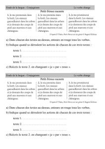 Conjugaison Ce2 Le Verbe Change Cartable D Une Maitresse