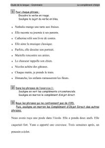 Grammaire Ce2 Les Complements D Objet Le Cod Cartable D Une Maitresse