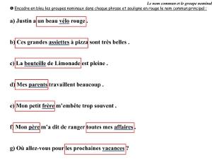 Grammaire CE2 ♦ Nom commun et groupe nominal ~ Cartable d ...