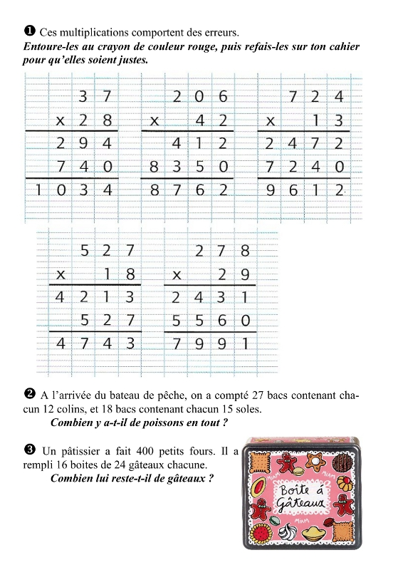 Maths ce2 technique op ratoire de la multiplication par for Exercice multiplication cm1